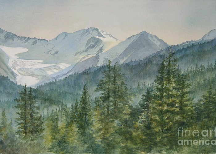 Glacier Greeting Card featuring the painting Glacier Valley Morning Sky by Sharon Freeman