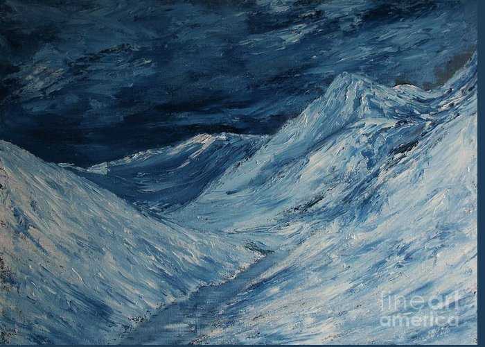 Oils On Canvas Greeting Card featuring the painting Glacier View by John Bercx