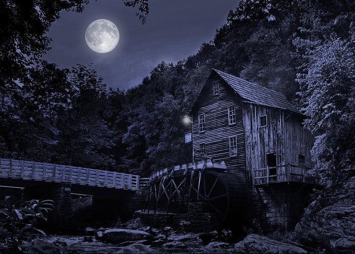 Glade Creek Grist Mill Greeting Card featuring the photograph Glade Creek Grist Mill At Night by Lj Lambert