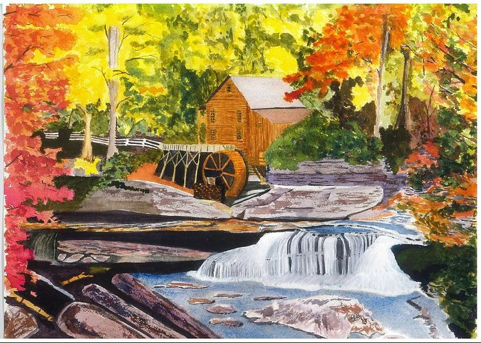 Glade Creek Grist Mill Greeting Card featuring the painting Glade Creek Grist Mill by David Bartsch