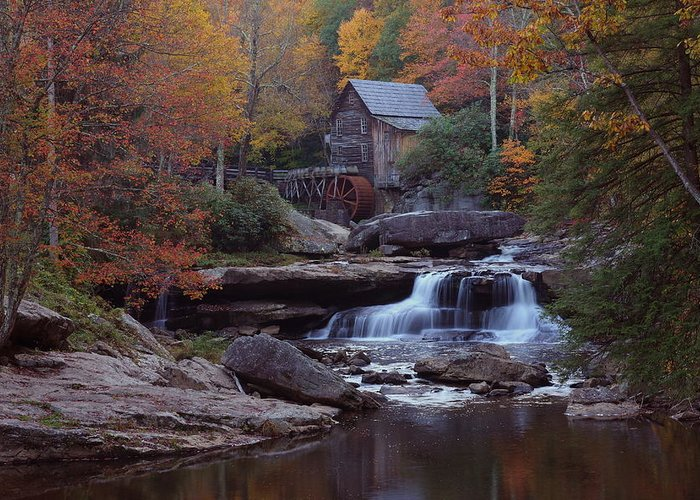 Glade Greeting Card featuring the photograph Glade Creek Grist Mill In Autumn by Jetson Nguyen