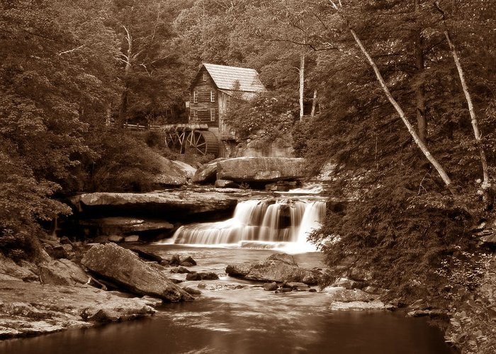 Mill Greeting Card featuring the photograph Glade Creek Mill In Sepia by Tom Mc Nemar