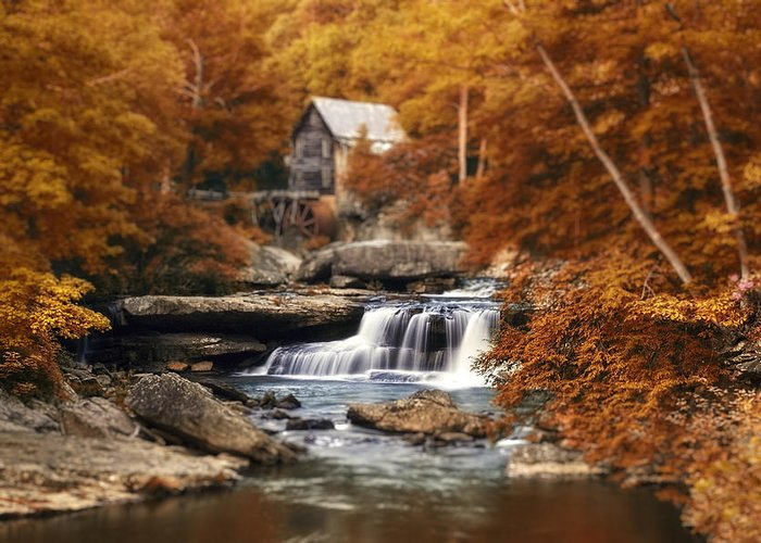 Fall Greeting Card featuring the photograph Glade Creek Mill Selective Focus by Tom Mc Nemar
