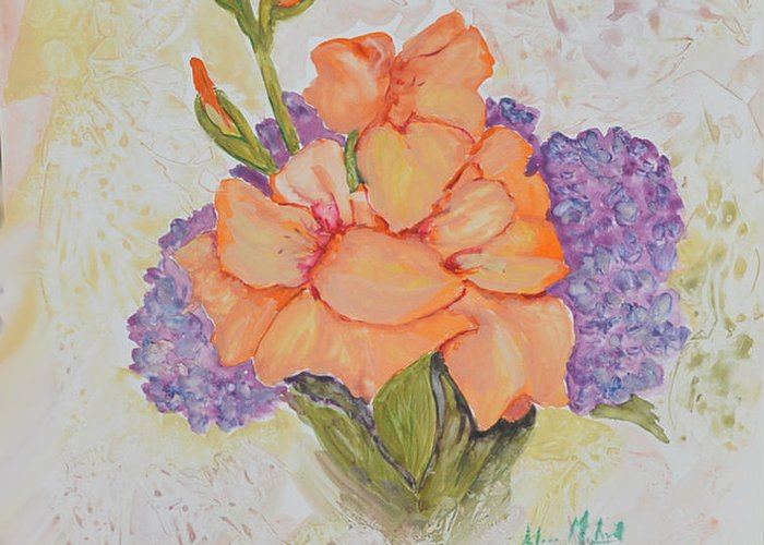 Floral Greeting Card featuring the painting Gladioli And Hydrangea by Aileen McLeod
