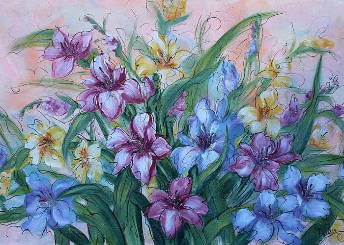 Gladiolus Greeting Card featuring the painting Gladiolus by Natalie Holland