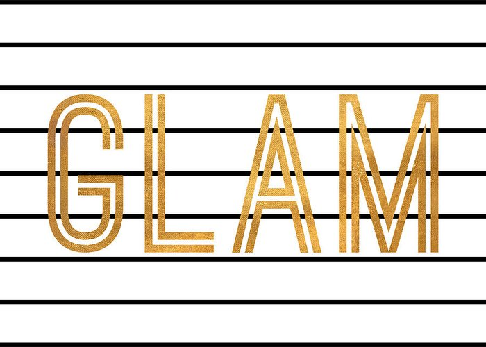 Glam Greeting Card featuring the digital art Glam Pinstripe Gold by South Social Studio