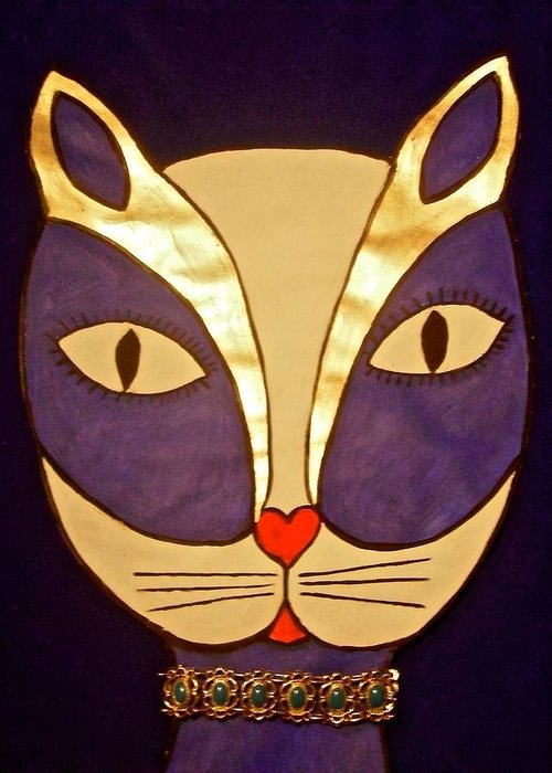 Cat Greeting Card featuring the painting Glamour Puss by Stephanie Moore