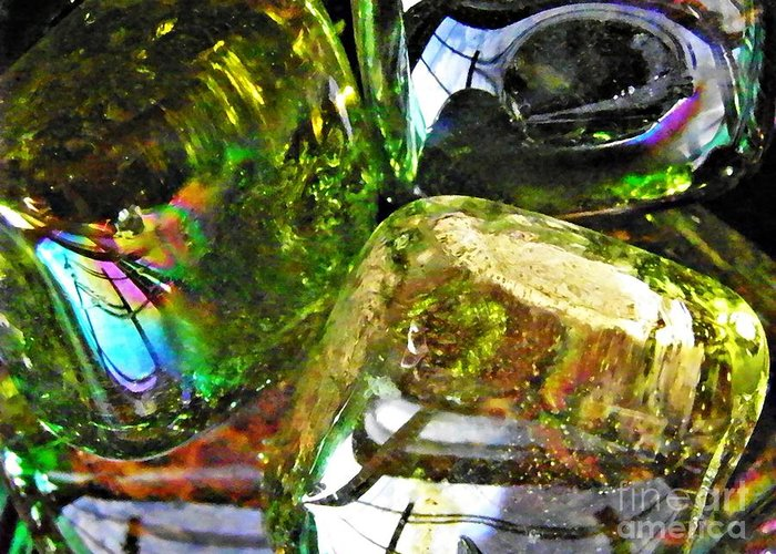 Abstract Greeting Card featuring the photograph Glass Abstract 119 by Sarah Loft