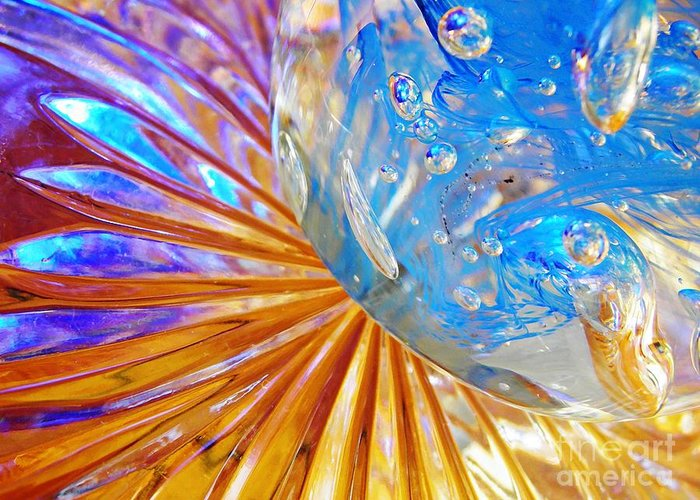 Abstract Greeting Card featuring the photograph Glass Abstract 767 by Sarah Loft