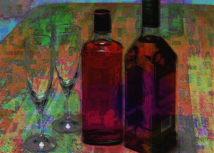 Glass Liquor Greeting Card featuring the digital art Glass And Liquor by Yutaka Kobayashi