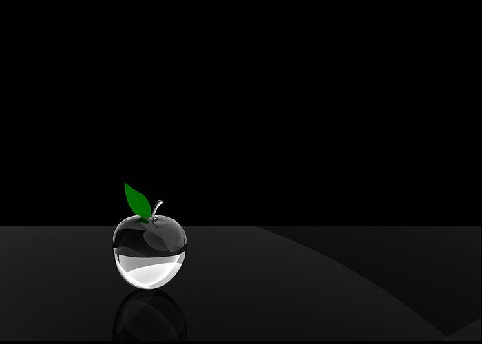 Glass Greeting Card featuring the digital art Glass Apple by Paul McManus
