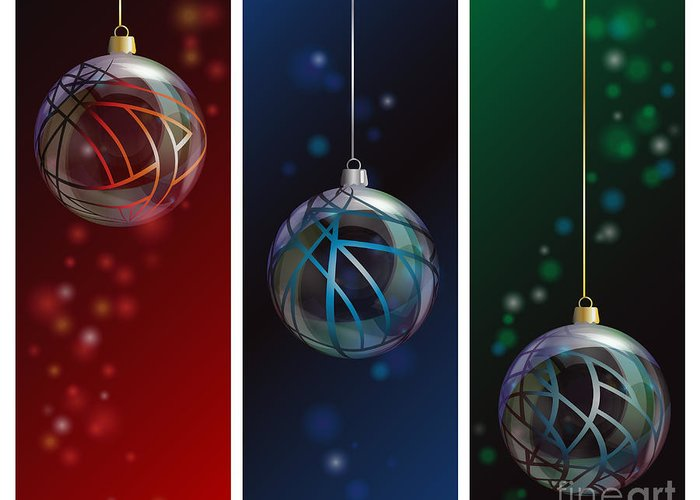 Red Greeting Card featuring the photograph Glass Bauble Banners by Jane Rix