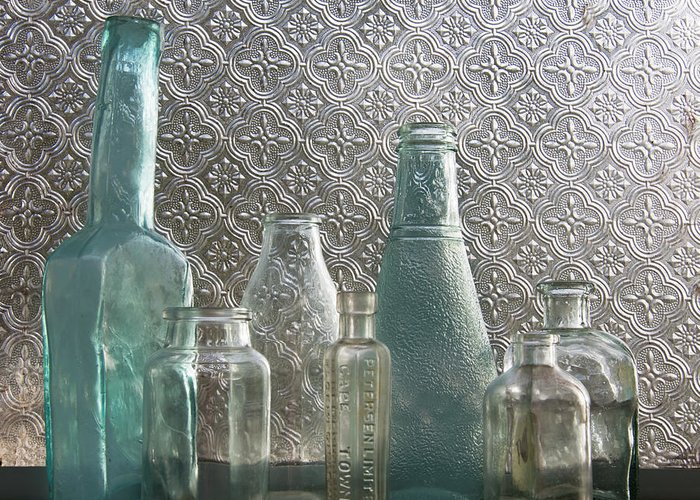 Glass Bottles Greeting Card featuring the photograph Glass Bottles 2 by Jocelyn Friis