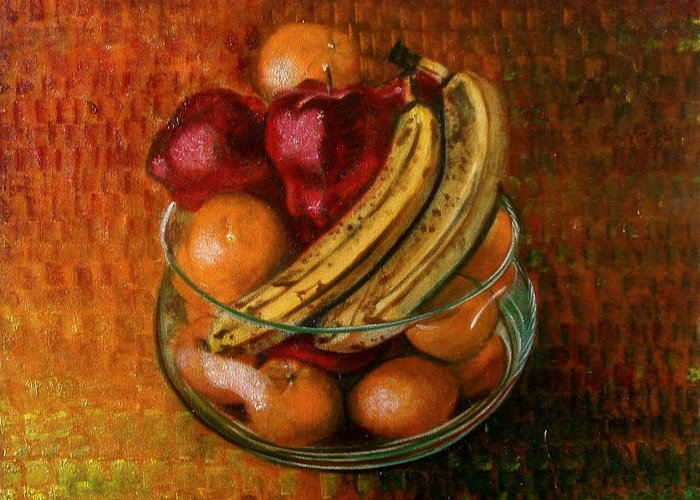 Still Life Greeting Card featuring the painting Glass Bowl Of Fruit by Sean Connolly