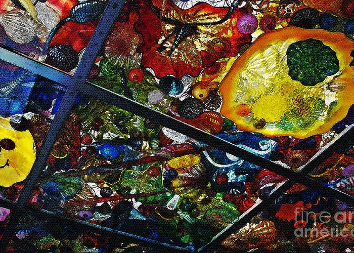 Glass Greeting Card featuring the photograph Glass Ceiling Abstract by Valerie Garner