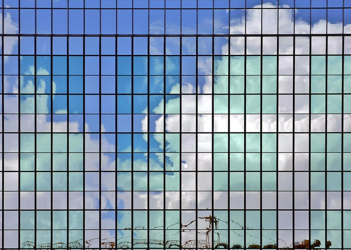 Reflection Greeting Card featuring the photograph Glass Facade Houston Tx by Christine Till