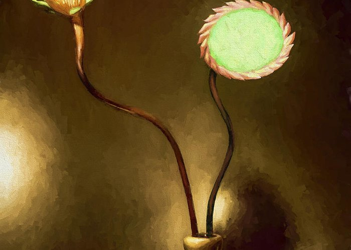 Fine Art Greeting Card featuring the painting Glass Flowers by David Wagner