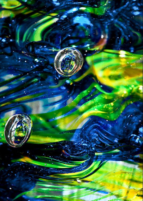 Seattle Seahawks Greeting Card featuring the photograph Glass Macro - Seahawks Blue And Green -13e4 by David Patterson
