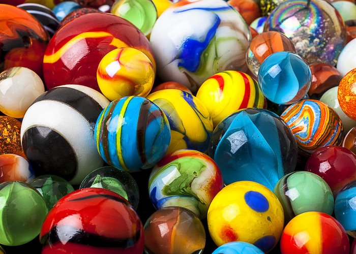 Pile Greeting Card featuring the photograph Glass Marbles by Garry Gay