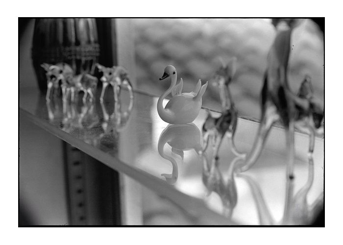 Black & White Greeting Card featuring the photograph Glass Miniatures by Alan M Thwaites