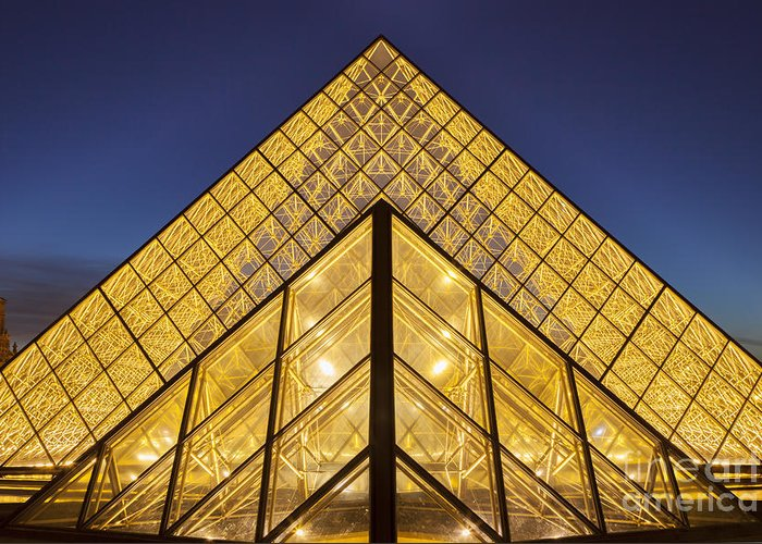 Architectural Greeting Card featuring the photograph Glass Pyramid by Brian Jannsen
