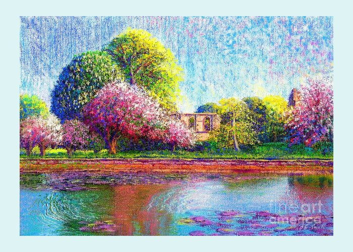 Spring Greeting Card featuring the painting Glastonbury Abbey Lily Pool by Jane Small