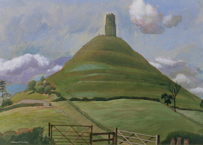 Landscape Greeting Card featuring the drawing Glastonbury Tor by Osmund Caine