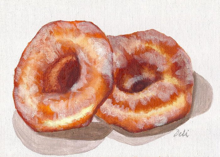 Glazed Donuts Greeting Card featuring the painting Glazed Donuts by Debi Starr