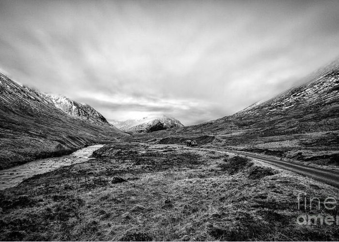 Beautiful Scotland Greeting Card featuring the photograph Glen Etive Road And River by John Farnan