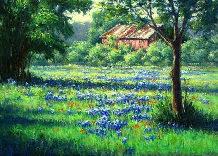 Vickie Fears Greeting Card featuring the painting Glen Rose Bluebonnets by Vickie Fears
