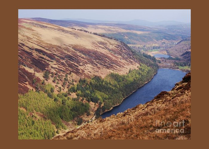 Art From Ireland Wicklow Glendalough Mountains Lough Or Lake Tree Line Landscape Irish Scenery Travel Outdoors Adventure Hiking Serene Vista Distant Mountains Second Lake Canvas Print Wood Print Metal Frame Poster Print Available On Greeting Cards Shower Curtains Phone Cases Tote Bags Pouches Weekender Tote Bags T Shirts And Mugs Greeting Card featuring the photograph A Vision Of Glendalough, Ireland # 3 by Courtney Dagan
