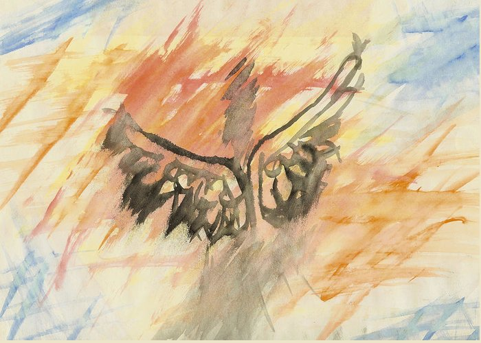 Angel Greeting Card featuring the painting Glimpse Of The Angelic by L Robert Westeen