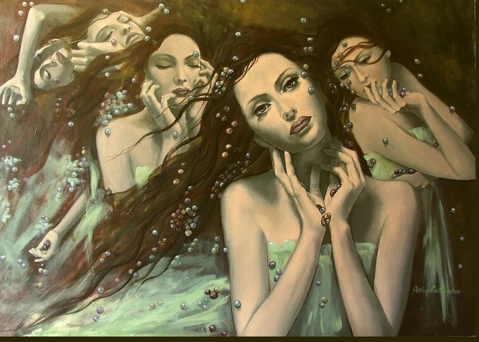 Art Greeting Card featuring the painting Glissando by Dorina Costras