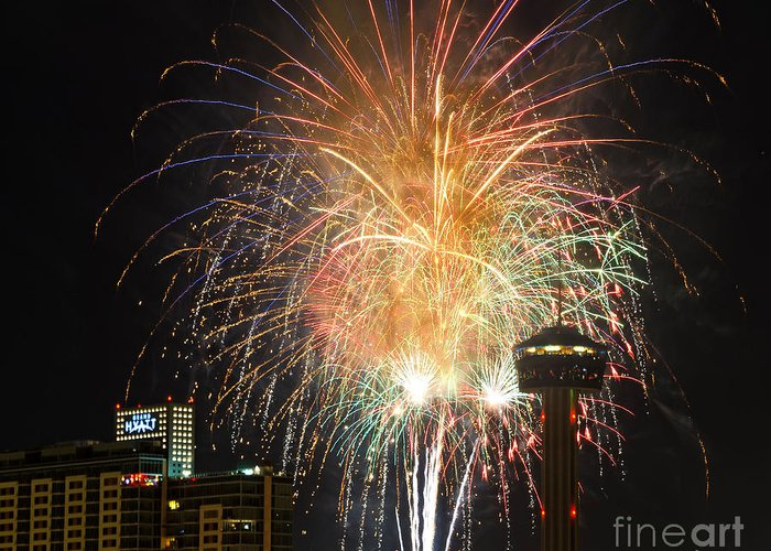 Fireworks Greeting Card featuring the photograph Glitter In The Sky by Cathy Alba