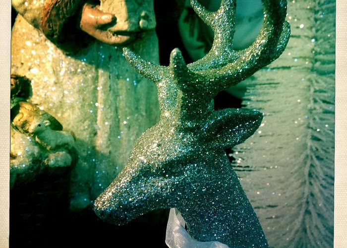 Holiday Greeting Card featuring the digital art Glittered Deer by Jen Brooks Art