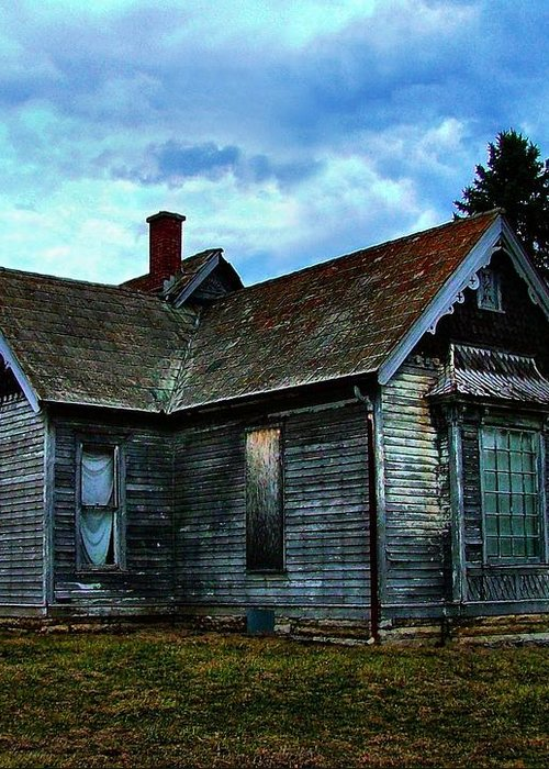 Old Abandoned Greeting Card featuring the photograph Glory Days Gone By by Julie Dant