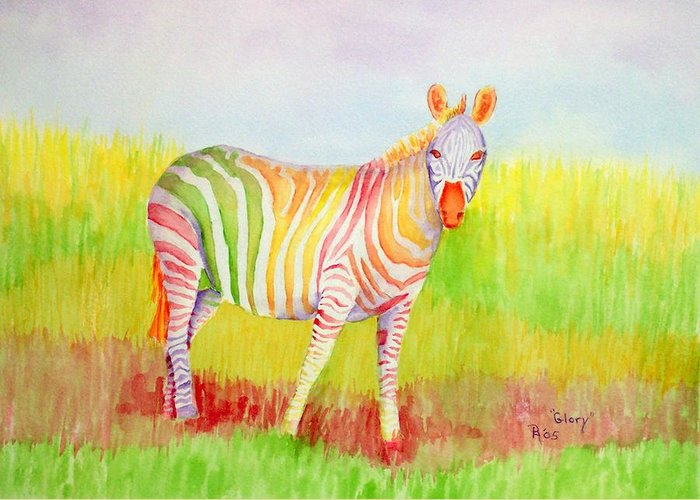 Zebra Greeting Card featuring the painting Glory by Rhonda Leonard