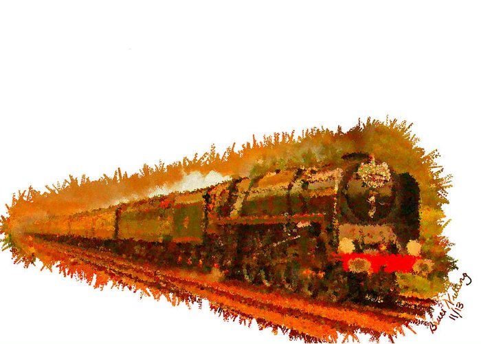 Gold Greeting Card featuring the painting Glory Train To Heaven by Bruce Nutting