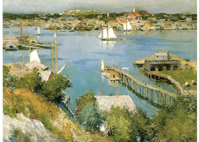 William Leroy Metcalf Greeting Card featuring the painting Gloucester Harbour by William Leroy Metcalf