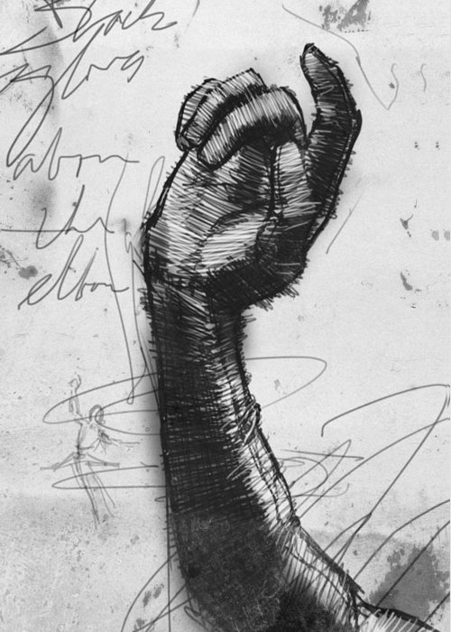 Opera Gloves Greeting Card featuring the drawing Glove Study by H James Hoff