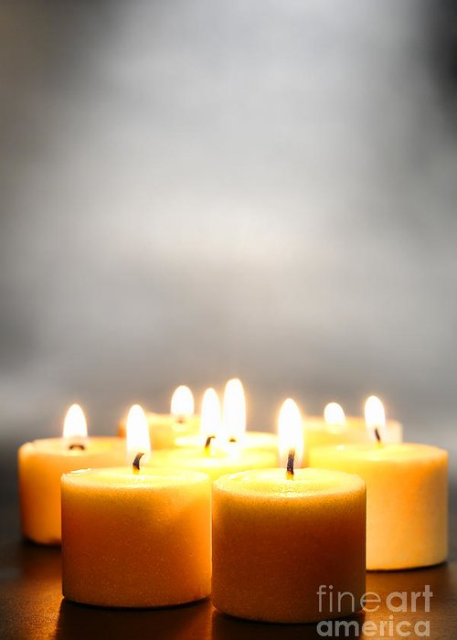 Votive Greeting Card featuring the photograph Glow And Smoke by Olivier Le Queinec