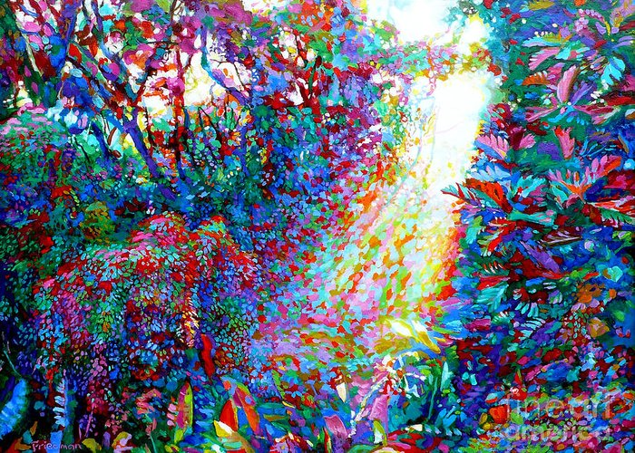 Rainforest Greeting Card featuring the painting Glow by David Friedman