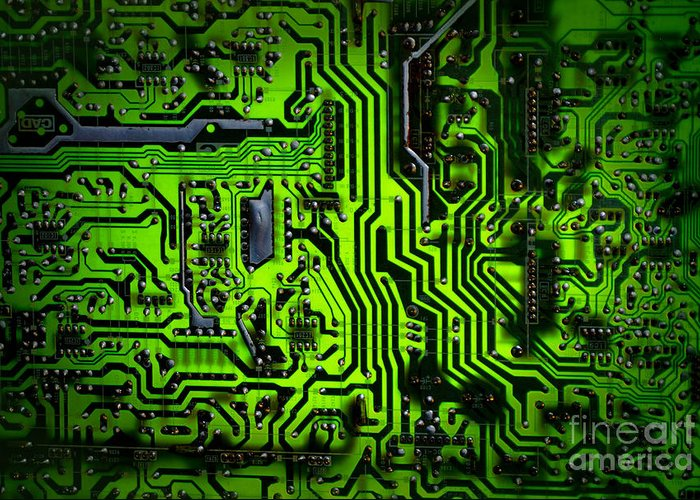 Chip Greeting Card featuring the photograph Glowing Green Circuit Board by Amy Cicconi