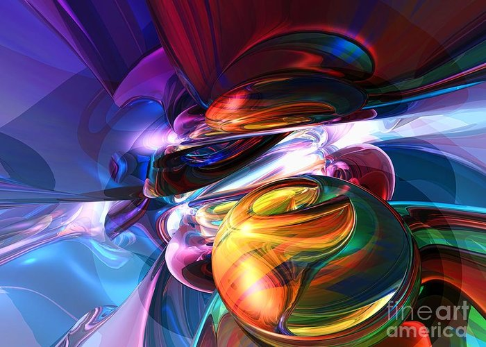 3d Greeting Card featuring the digital art Glowing Life Abstract by Alexander Butler