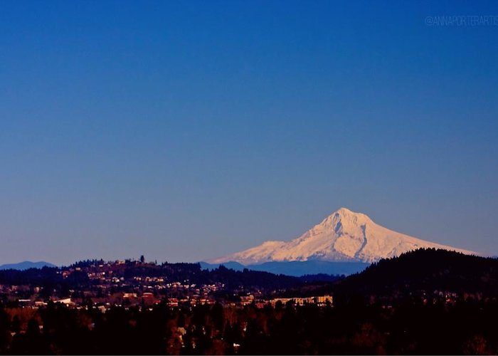 Glowing Mt Hood Greeting Card featuring the photograph Glowing Mt Hood by Anna Porter