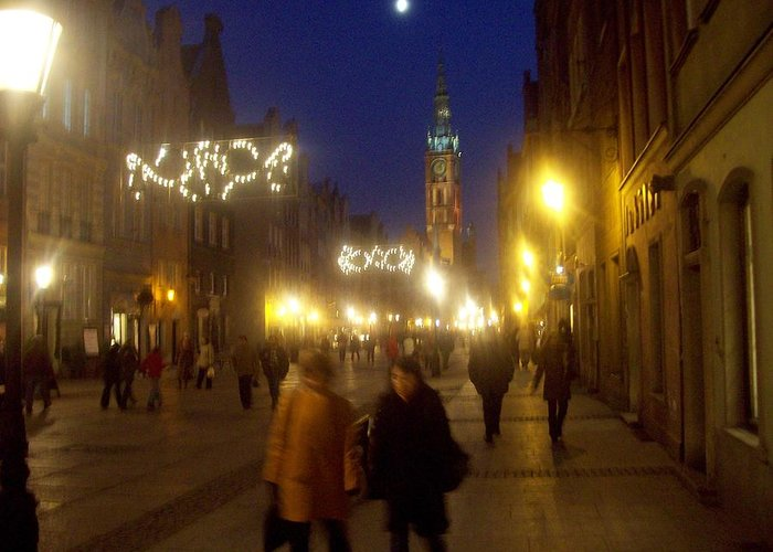 Old Gdansk Greeting Card featuring the photograph Glowing Old Gdansk by J Anthony Shuff