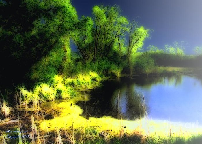 Pond Greeting Card featuring the photograph Glowing Pond On A Foggy Night by Ann Almquist