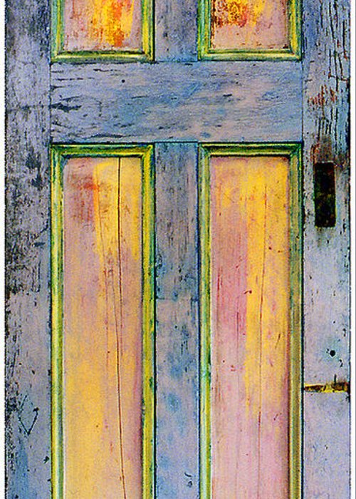 Mixed Media On Old Wooden Door Greeting Card featuring the painting Glowing Through Door by Asha Carolyn Young