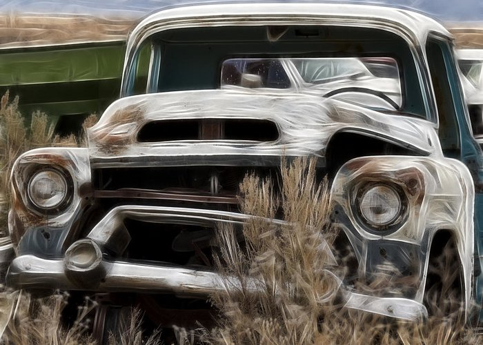 Gm Old Pickup Greeting Card featuring the photograph G M Old Pickup by Wes and Dotty Weber