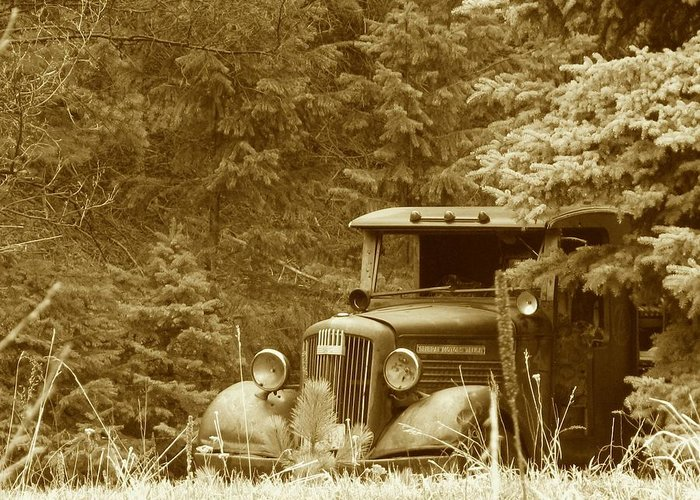 Transportation Greeting Card featuring the photograph Gm Truck Sepia by Steven Parker